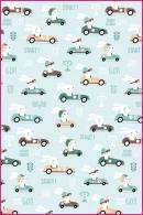 Pościel dla dzieci i niemowląt - Króliki w samochodach  seledyn
