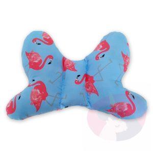 Niebieska poduszka antywstrząsowa motylek różowe flamingi